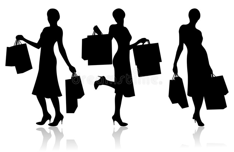 Woman with shopping bags royalty free illustration