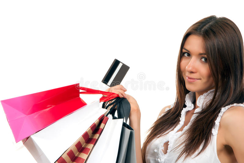 Download Woman With Shopping Bags, Credit Gift Card Stock Photo - Image: 18776378