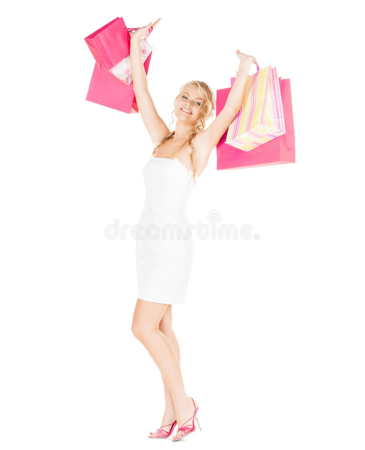 Download Woman With Shopping Bags In Dress And High Heels Stock Image - Image: 35133075