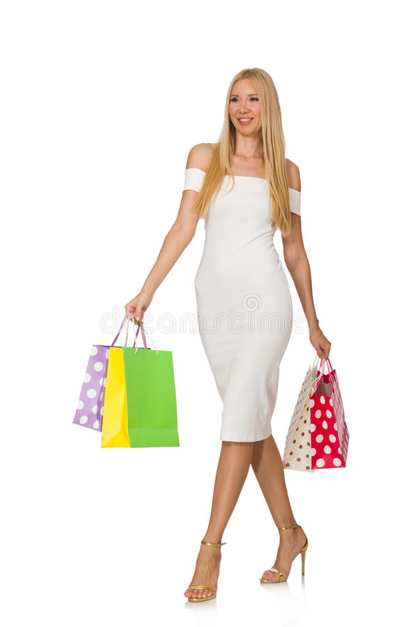 Woman with shopping bags. Isolated on white stock image