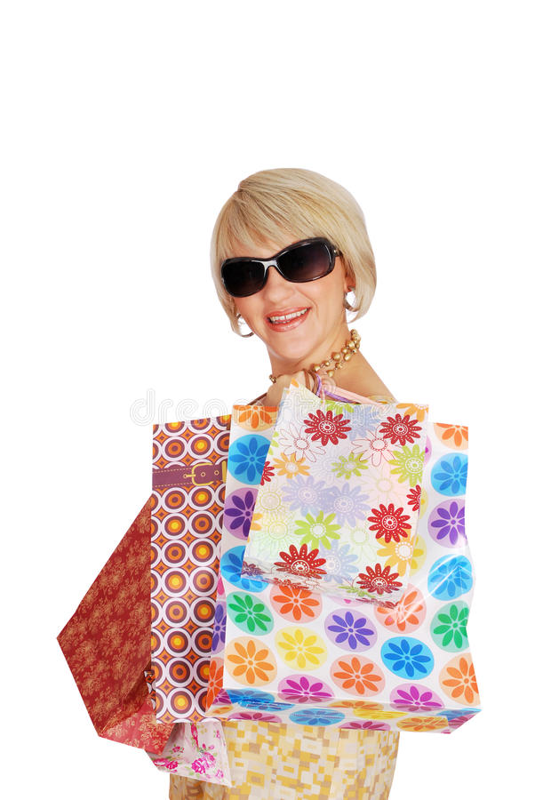 Download Woman With Shopping Bags And Sunglasses Royalty Free Stock Image - Image: 16382576