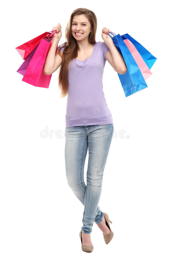 Download Woman with shopping bags stock photo. Image of enjoying - 30444730