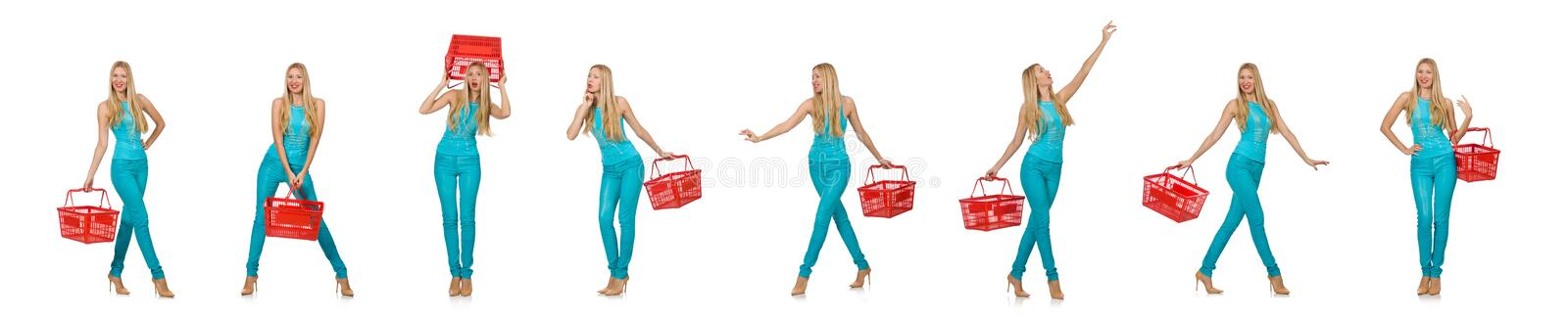 Woman with shopping basket isolated on white. The woman with shopping basket isolated on white stock photo