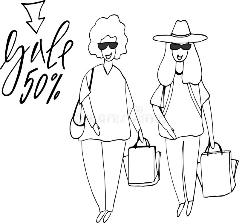 Woman shopping.Big Sale Buyer girl and shopping bag. vector illustration