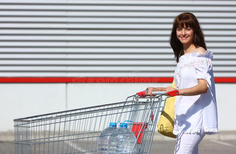 Download Woman with shopping cart stock image. Image of people - 25514927