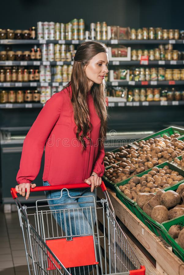 woman with shopping cart choosing raw vegetables stock image