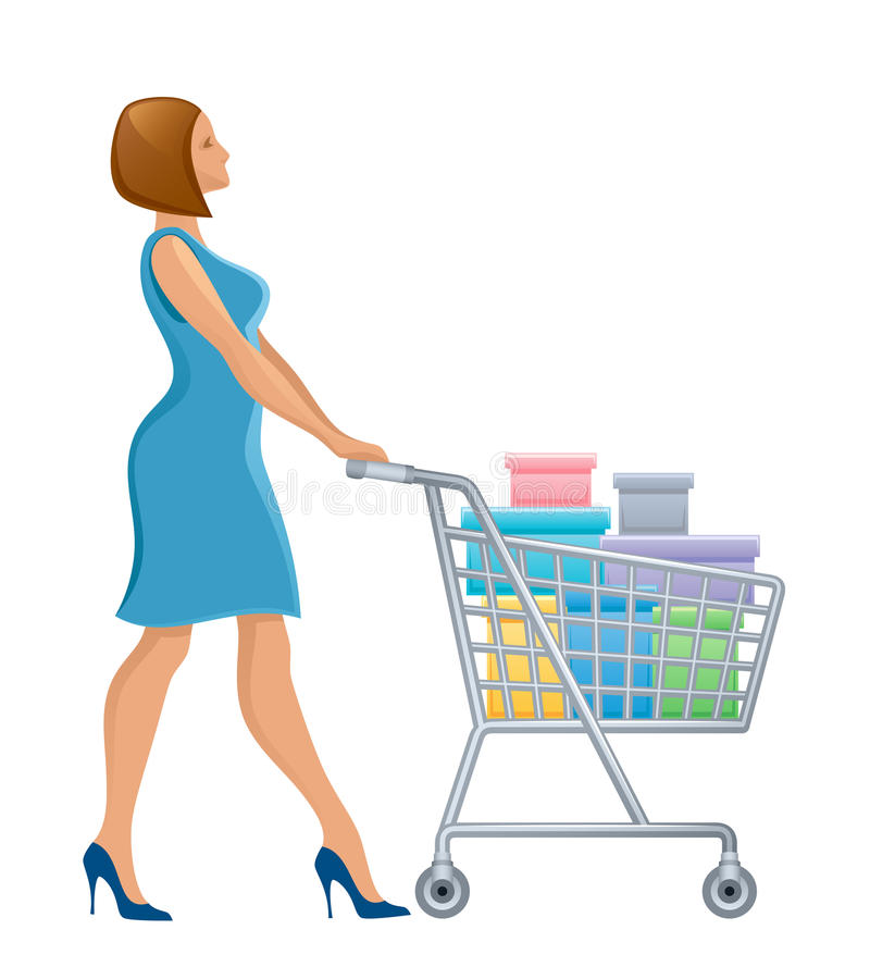 Woman with shopping cart. On a white background royalty free illustration