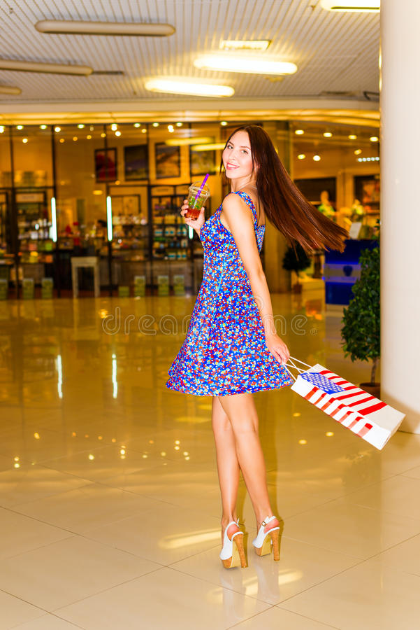 Download Woman in shopping center stock photo. Image of cocktail - 32269028