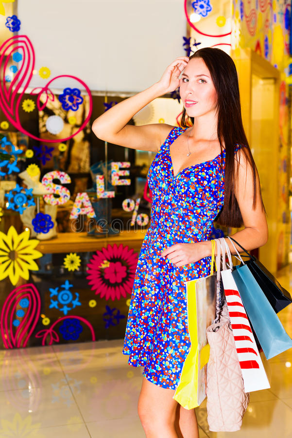 Download Woman in shopping center stock image. Image of market - 32269021