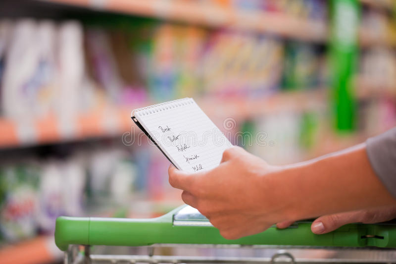 Woman Shopping with Checklist and Trolley royalty free stock image