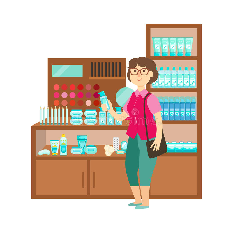 Woman Shopping Cosmetics, Shopping Mall And Department Store Section Illustration royalty free illustration