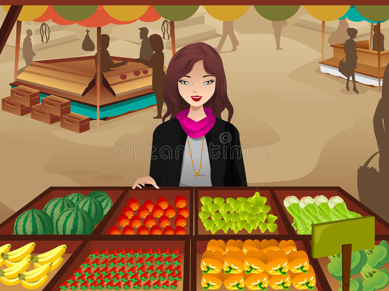 Woman shopping at a farmers market. A vector illustration of beautiful woman shopping at a farmers market stock illustration