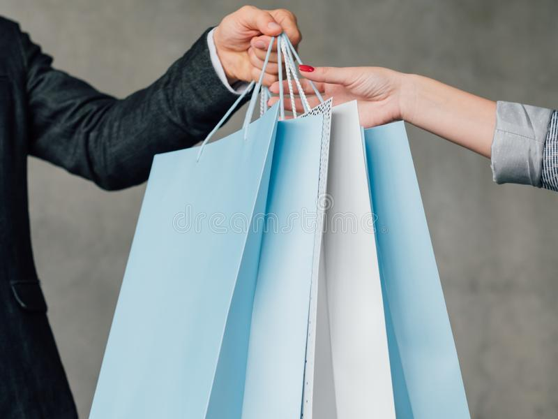 Woman shopping female casual leisure bags stock image