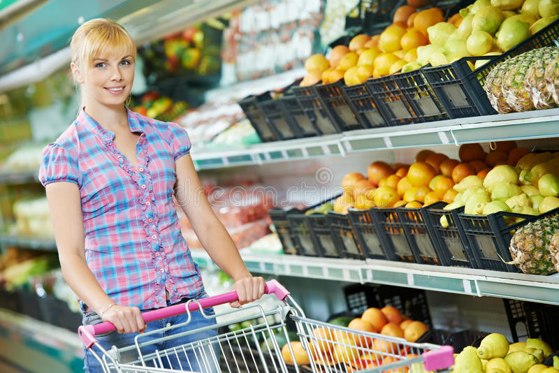 Woman shopping fruits stock photo