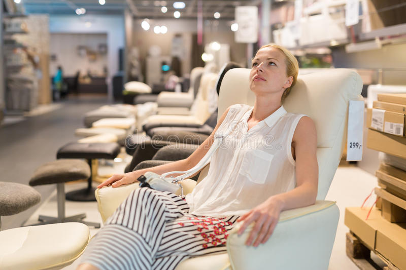 download woman shopping for furniture sofa and home decor in store stock image image - Woman Home Decorating