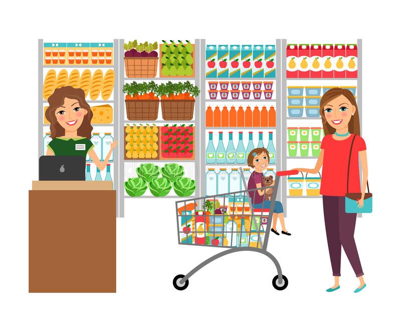 Woman shopping in grocery store royalty free illustration