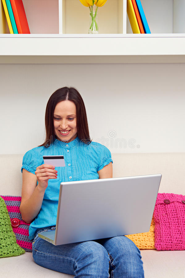 Woman Shopping In Internet Royalty Free Stock Photography