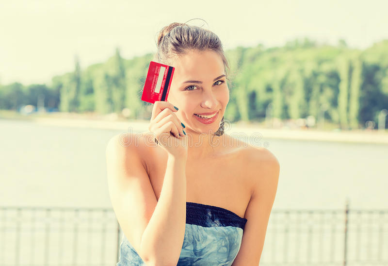 Woman shopping on line showing credit card stock photos