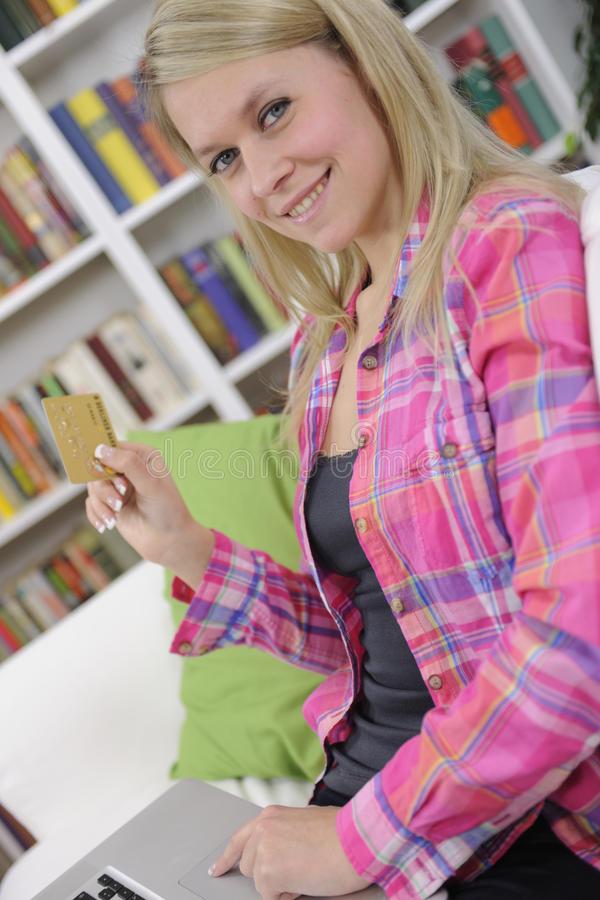 Download Woman Shopping Online With Laptop Stock Image - Image of living, internet: 24106465