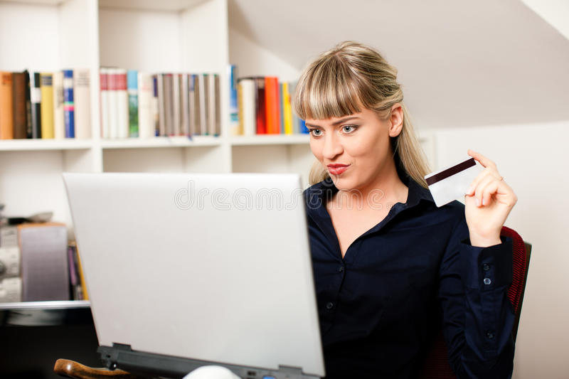 Download Woman Shopping Online Via Internet From Home Stock Image - Image: 15520779