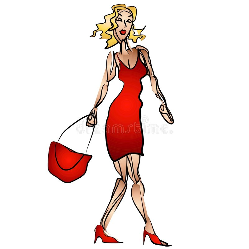 Woman Shopping Red Dress. An illustration of a fashion model woman with blonde hair wearing a red dress aand holding a red handbag - as if she is going shopping