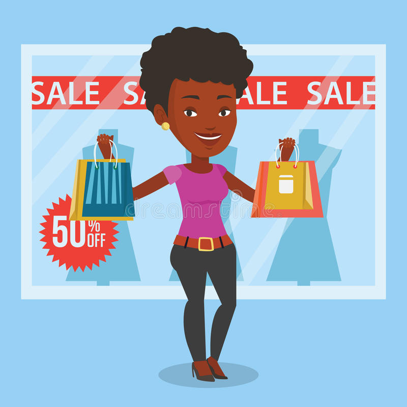 Woman shopping on sale vector illustration. African woman with shopping bags standing in front of clothes shop with sale sign. Woman holding shopping bags in vector illustration