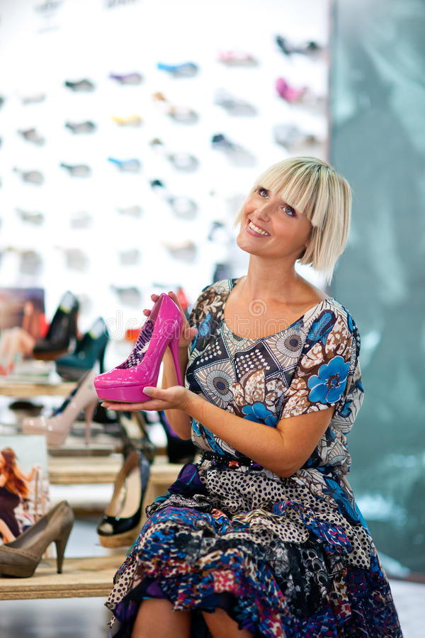 Woman Shopping Shoes Royalty Free Stock Photos