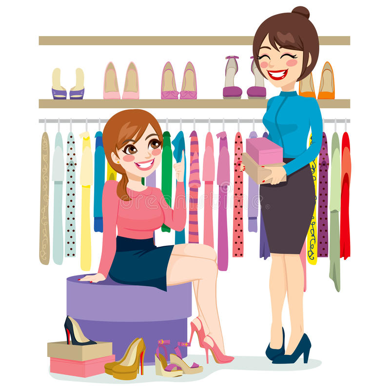 Woman Shopping Shoes vector illustration