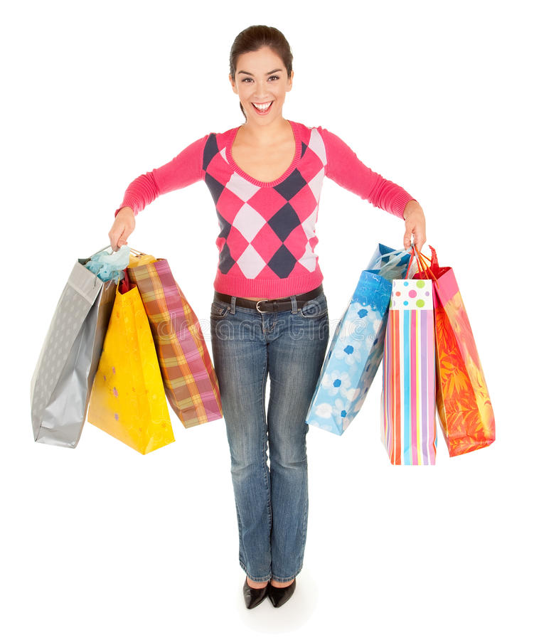 Download Woman on a Shopping Spree stock image. Image of purchase - 23213329