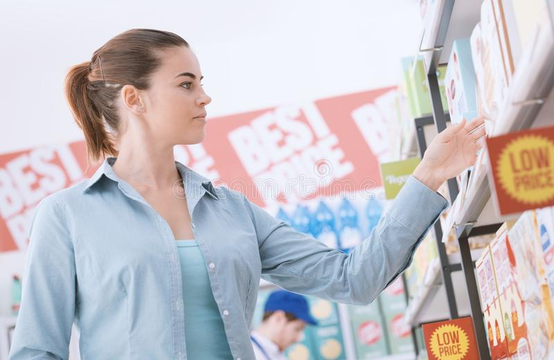 Woman shopping at the store stock photo