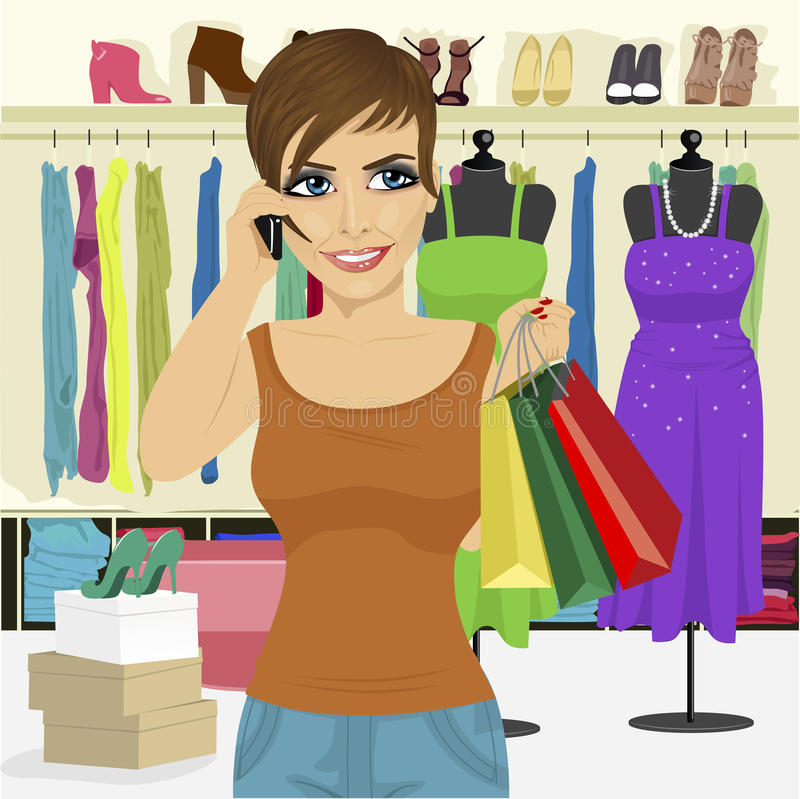 Woman shopping in store talking on smartphone stock illustration