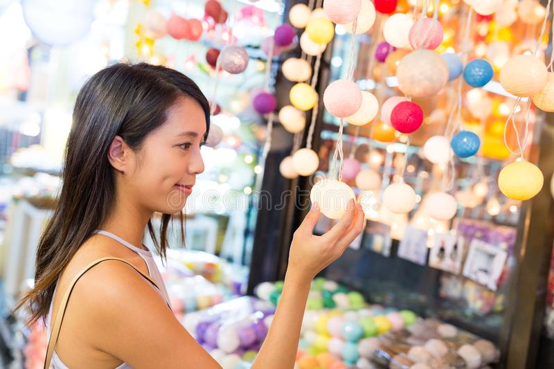 Woman shopping in street market. Asian young woman royalty free stock image