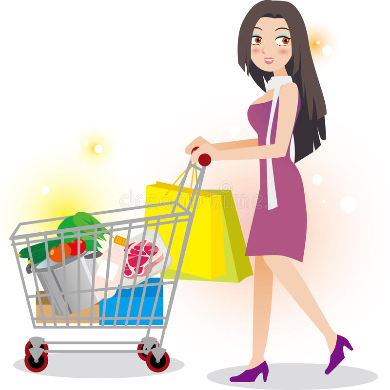 Woman shopping in supermarket vector illustration