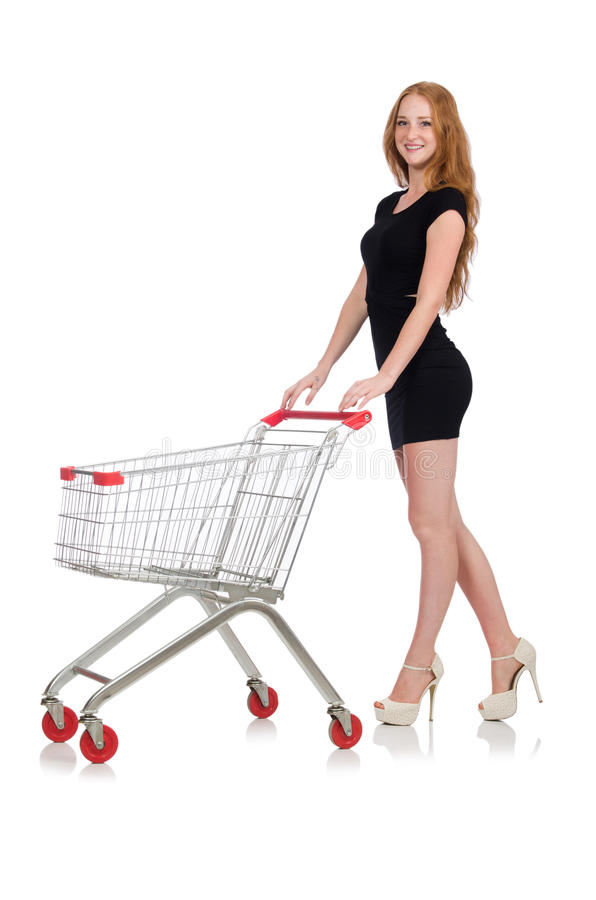 Woman after shopping in the supermarket isolated. On white royalty free stock photo