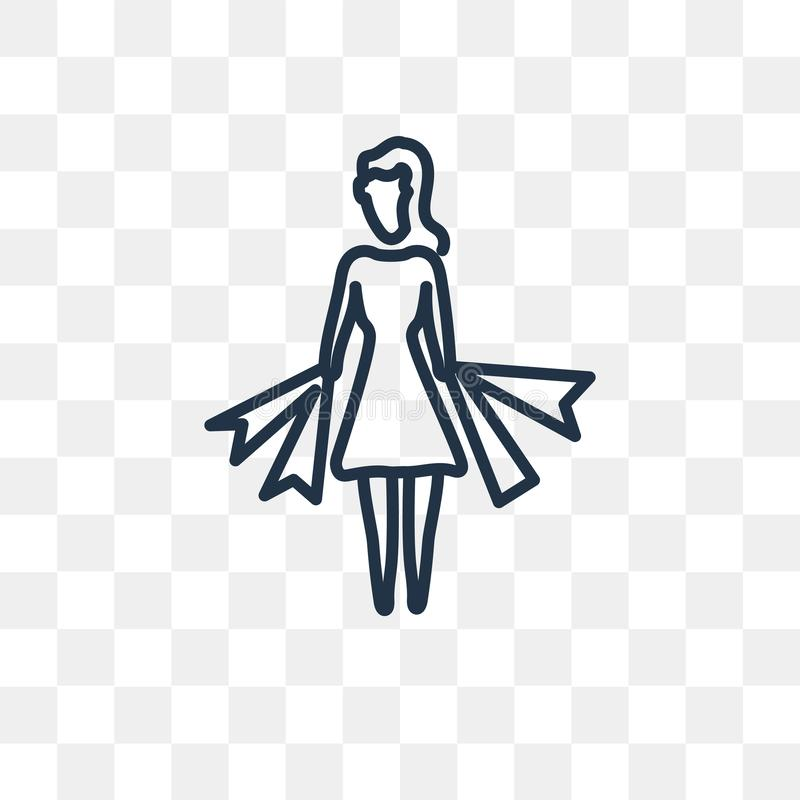 Woman Shopping vector icon isolated on transparent background, l stock illustration