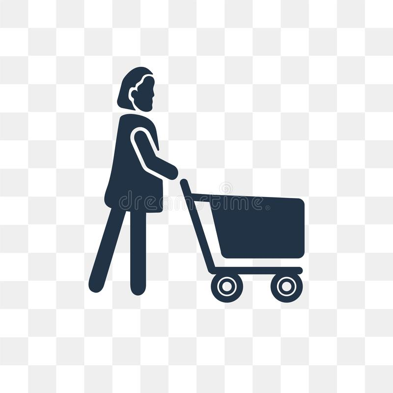 Woman Shopping vector icon isolated on transparent background, W royalty free illustration