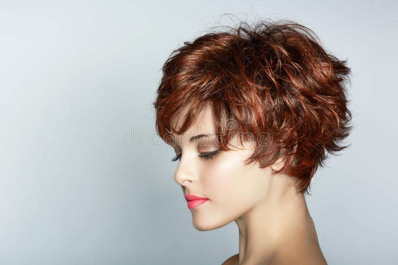 Woman with short haircut royalty free stock image