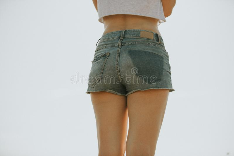Close up of woman in shorts. royalty free stock photos