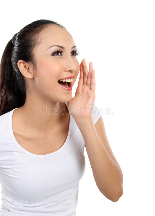 Download Woman shouting stock image. Image of announcement, announce - 24365407