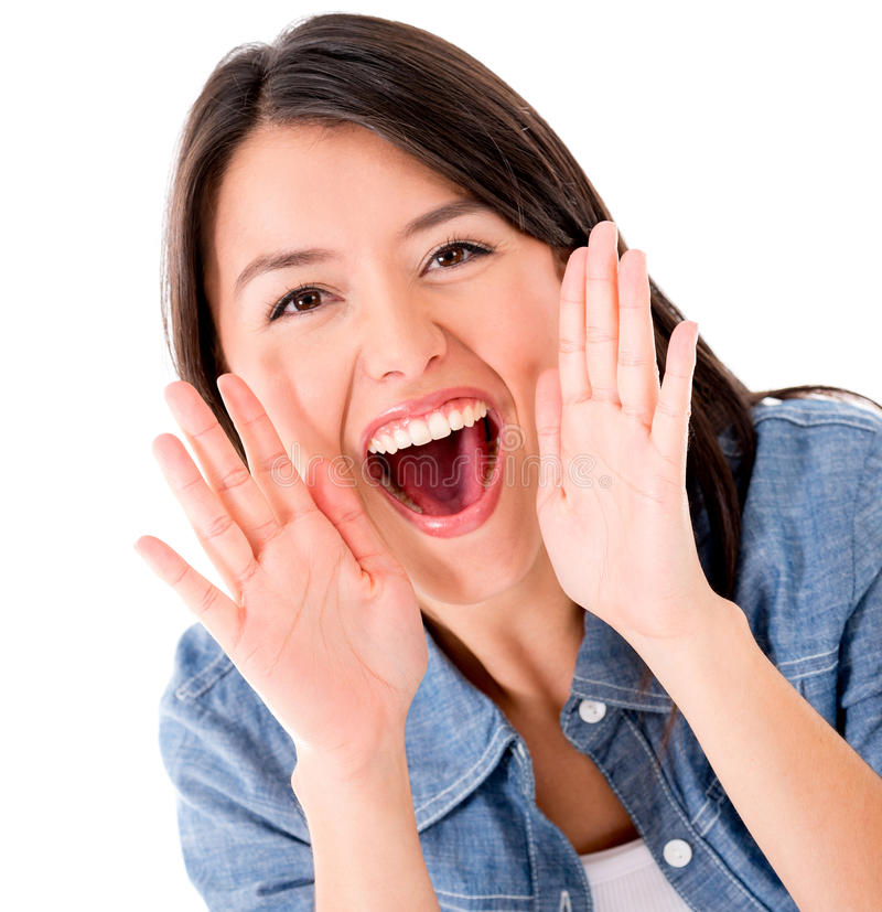 Download Woman shouting stock photo. Image of gorgeous, cheerful - 30997576