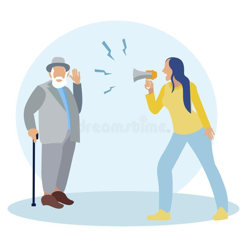 Woman shouting into a megaphone. Deaf man, senior citizen. In minimalist style. Cartoon flat vector. Illustration vector illustration