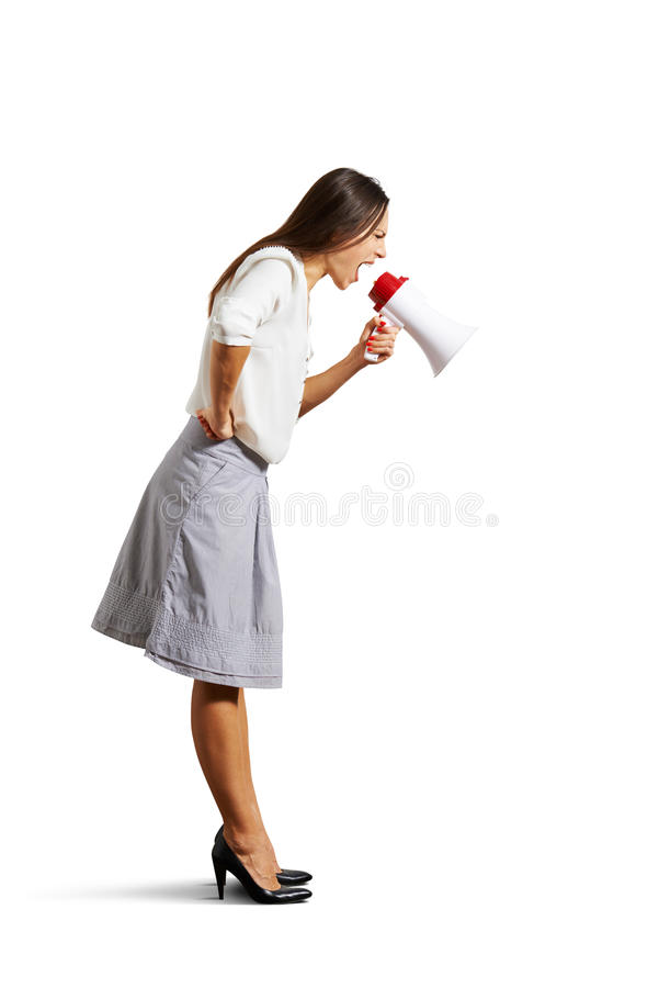 Download Woman Shouting At Megaphone Stock Image - Image of caucasian, emotional: 36773303