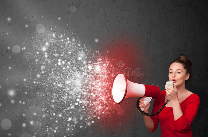 Download Woman Shouting Into Megaphone And Glowing Energy Particles Explo Stock Image - Image: 35938053