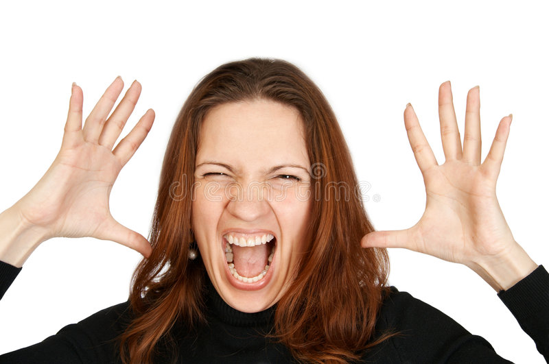The woman shouts. Having lifted hands upwards stock photo
