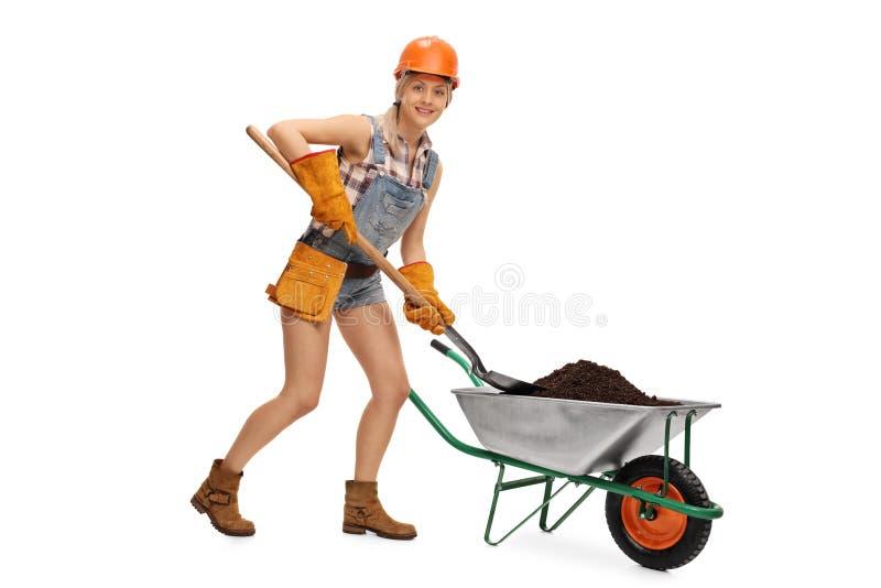 Woman shoveling dirt out of a wheelbarrow stock image