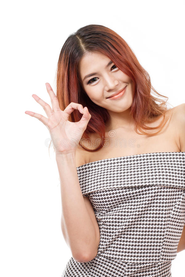Woman show approval, agreement, accepting, positive hand sign stock image