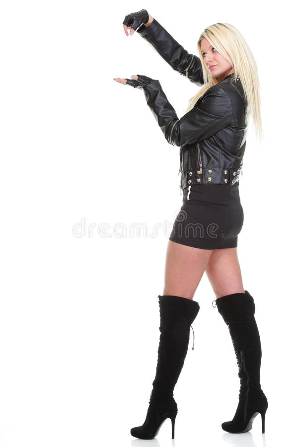 Woman show demonstrate beautiful young female rock isolated royalty free stock images