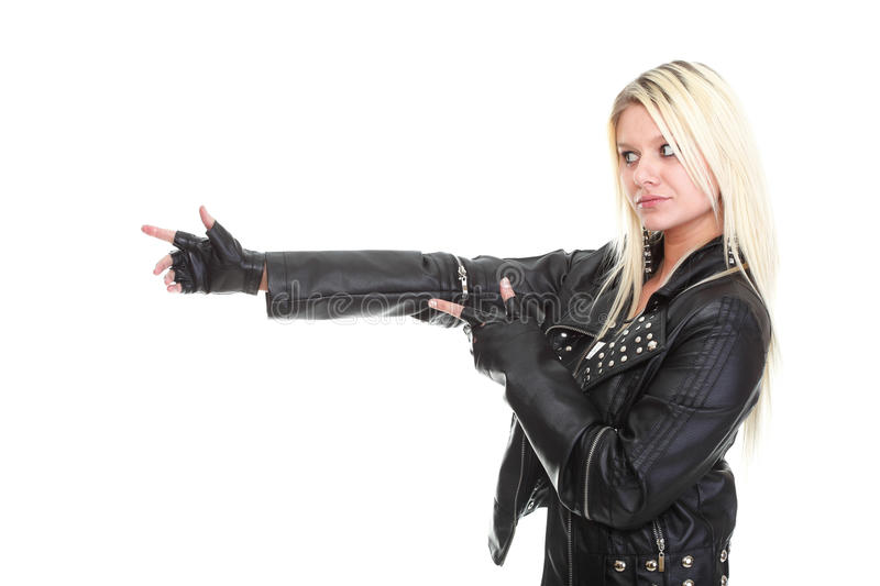Woman show demonstrate beautiful young female rock isolated stock photos