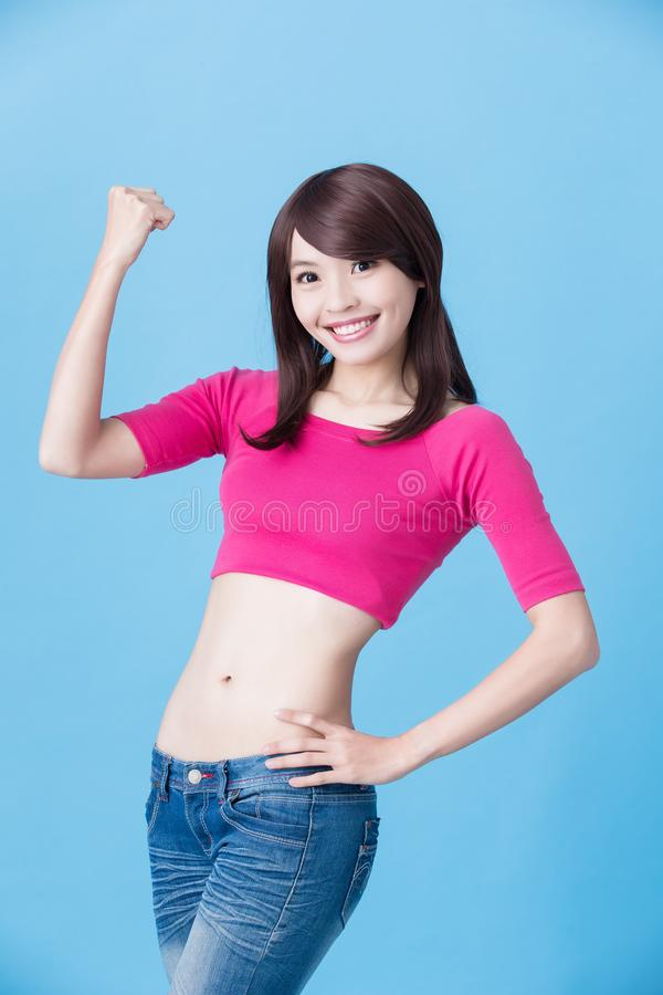 Woman show fist to you royalty free stock photo