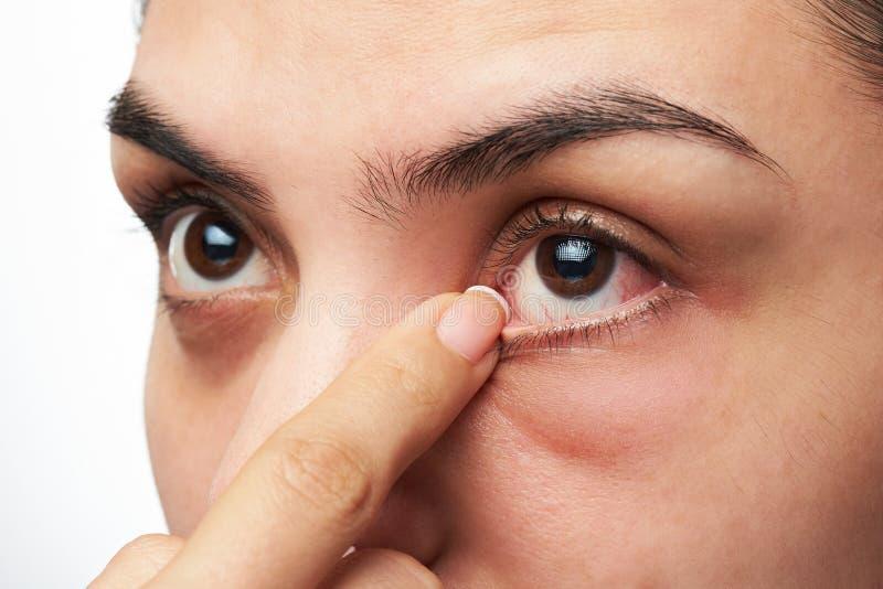 Woman show her eye stock photos